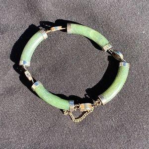 Vintage 1970s Jade & Silver Bracelet